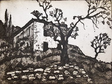Etching of a building with trees